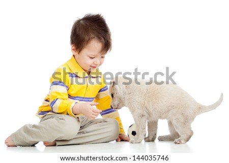 kid little boy and puppy dog - stock photo