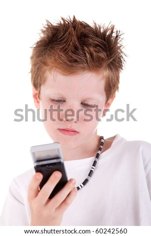 kid looking to the phone, isolated on white background, studio session