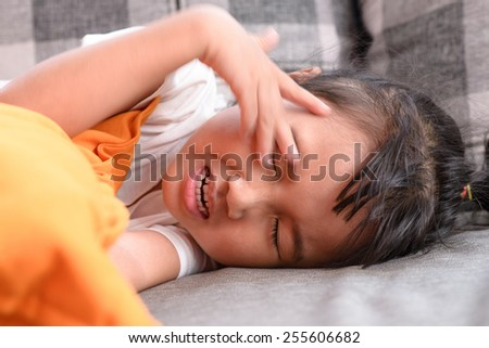Kid on sick mood - stock photo