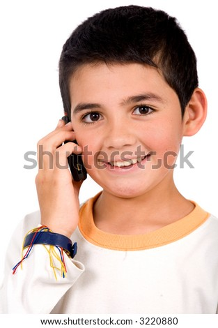kid on the phone smiling - isolated over a white background - stock photo