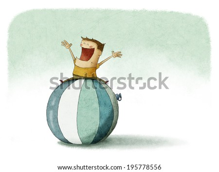 Kid over the top of a giant beach ball - stock photo