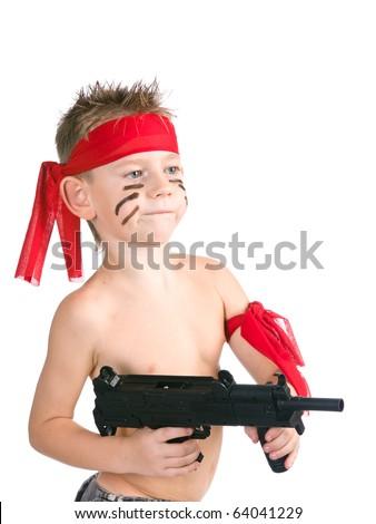 Kid play at war - stock photo