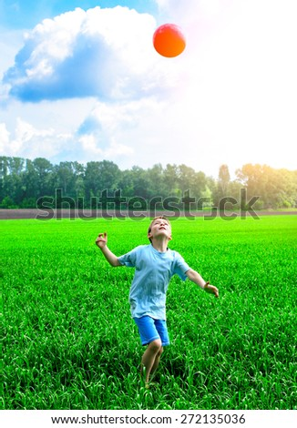 kid play with a ball in the summer field - stock photo