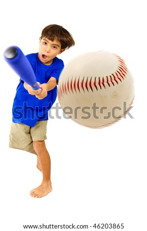 Kid playing baseball. Studio Shot - stock photo