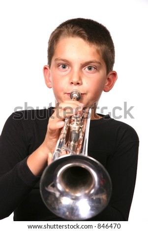 Kid playing Musical Instrument: Trumpet