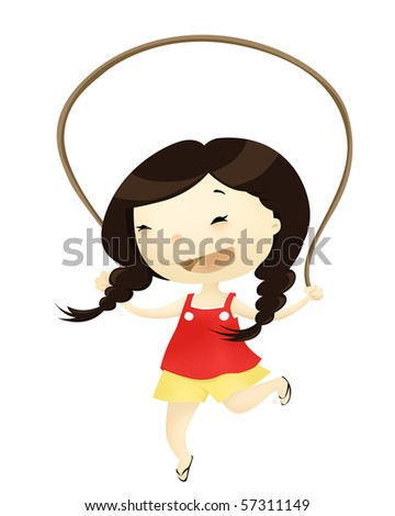 kid playing with skipping rope - stock photo