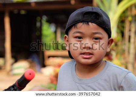 Kid portrait smiling   - Asia children - stock photo