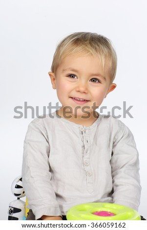 kid posing over white