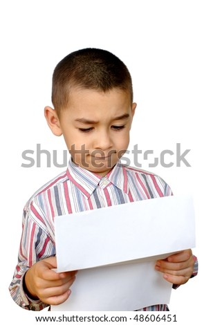 Kid reading a letter, isolated on white background - stock photo