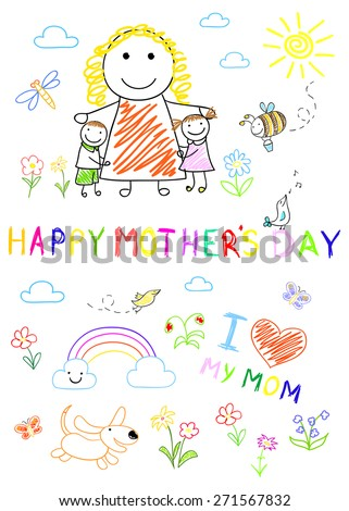 Kid's drawing - happy children with mom - stock photo