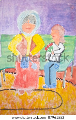 Kid's drawing of grandmother and granddaughter - stock photo