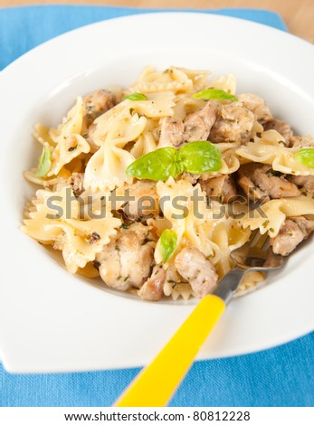 Kid's meal of Pasta and Chicken with Herbs - stock photo