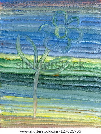 Kid's oil painting of abstract flower, a vertical picture - stock photo
