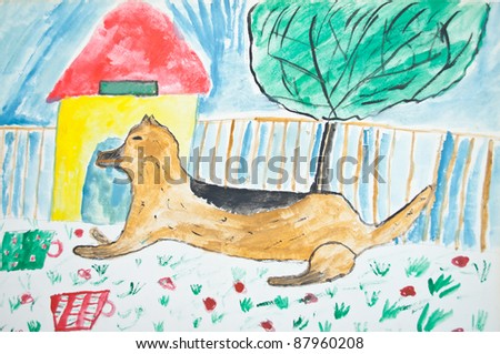 Kid's painting of dog - stock photo