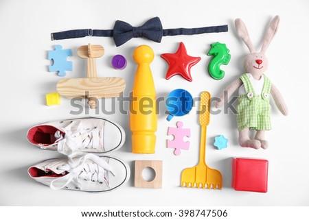 Kid's set on a light background - stock photo