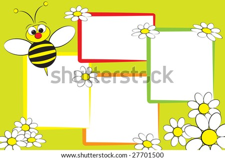 Kid scrapbook with a bee and white daisies - Photo frames for children - stock photo
