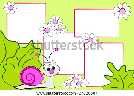 Kid scrapbook with a snail and flowers - Photo frames for children - stock photo