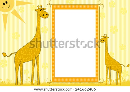 Kid scrapbook with giraffes - Photo  frames for children  - stock photo