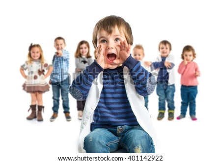 Kid shouting over white background  - stock photo