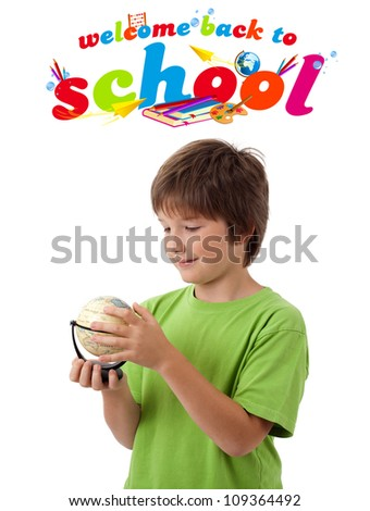 Kid with back to school theme isolated on white - stock photo