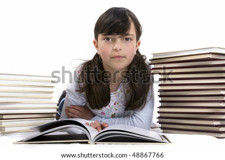 kid with books - stock photo