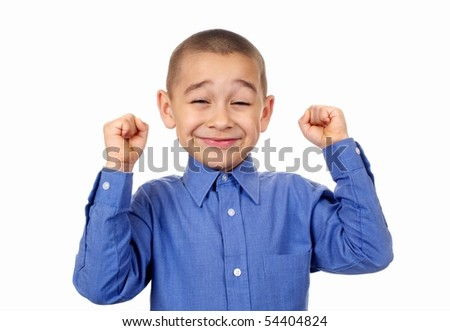 Kid with fists raised in success, isolated on white background - stock photo