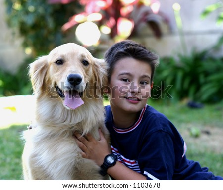 Kid with Golden Retriever Dog
