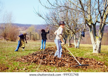 Kid with his grandmother and his mother spring cleaning with a rake in an orchard