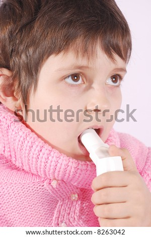 Kid with inhaler do medicine procedure