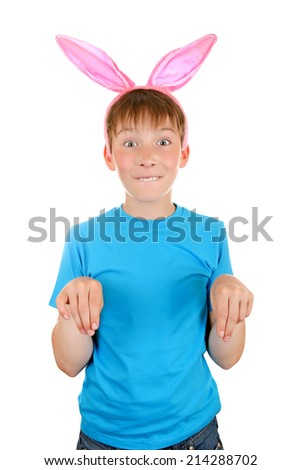 Kid with Rabbit Ears Isolated on the White Background - stock photo