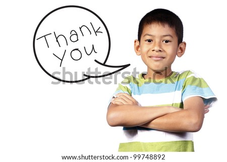 kid with Speech say thank you on white background - stock photo