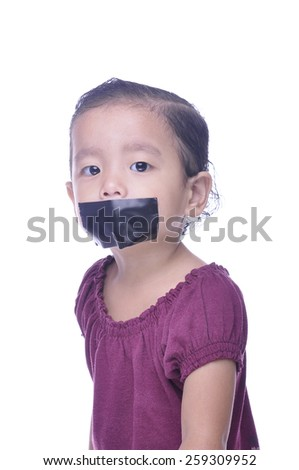 kid with taped mouth, begging for help. Sad, abuse girl. Violence, despair. - stock photo