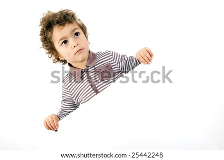 kid with white sheet on a white background - stock photo