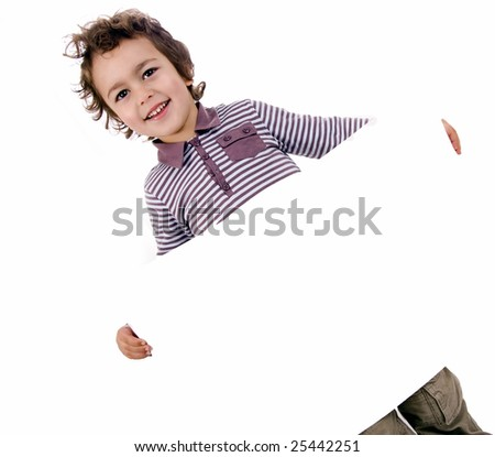 kid with white sheet on a white background