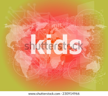 kid word on a virtual digital background, raster - stock photo