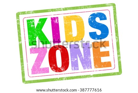 Kid zones word stamp text on white background
