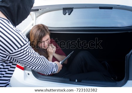 kidnapped asian woman tied businesswoman lying stock photo (royalty