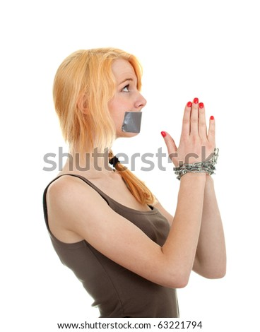 kidnapped young woman, hostage isolated on the white - stock photo