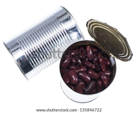 Kidney Beans in a can isolated on white - stock photo