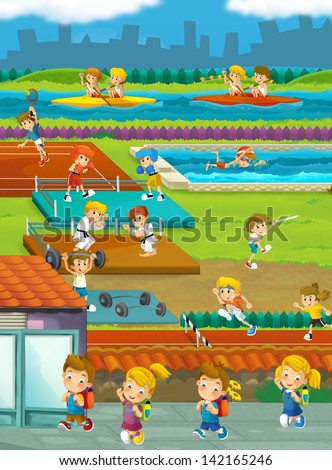 Kids and sport - gymnastics - illustration for the children - stock photo