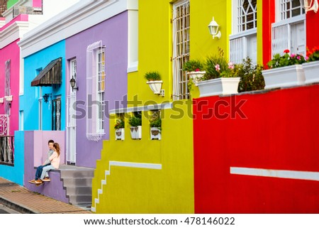 Kids at colorful Bo Kaap quarter, a must-see destination in Cape Town