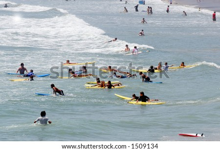 Kids at surf camp. - stock photo