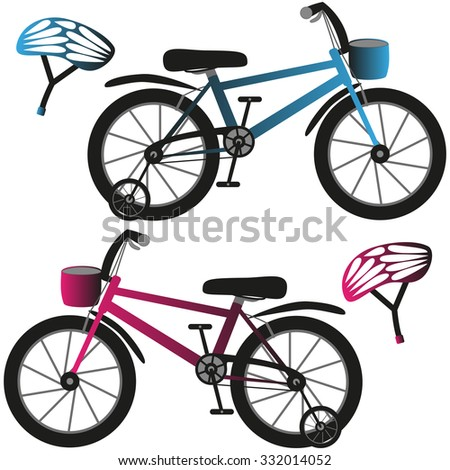 Kids bicycles and helmets, blue and pink. - stock photo