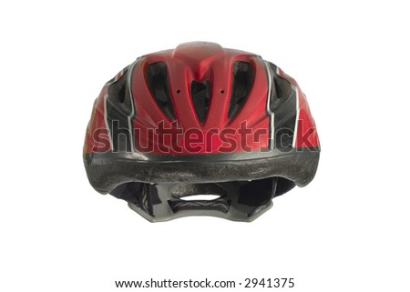 kids' bike helmet with clipping path - stock photo