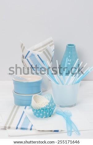 Kids Birthday Party Dinnerware. Paper And Plastic. - stock photo