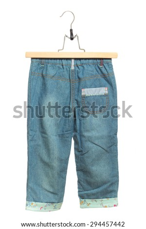 Kids blue jeans back view in clothes hanger, isolated on white background. - stock photo