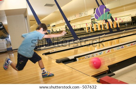 Kids Bowling - stock photo