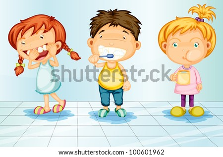 Kids caring for teeth illustration - EPS VECTOR format also available in my portfolio. - stock photo