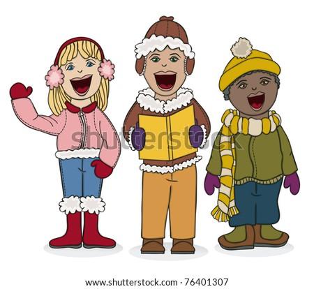 Kids Caroling - Raster Version - stock photo