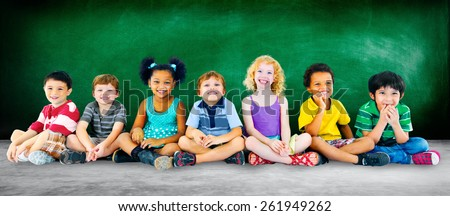 Kids Children Diversity Happiness Group Education Concept - stock photo